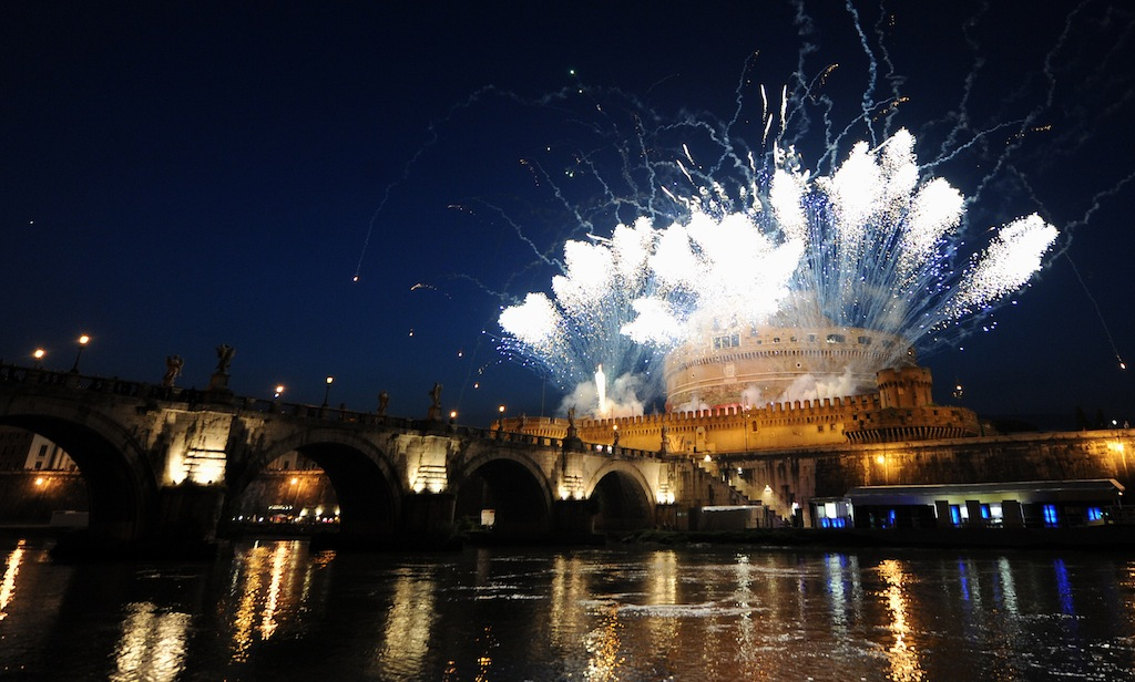 Fireworks light the sky at Castel Sant'A