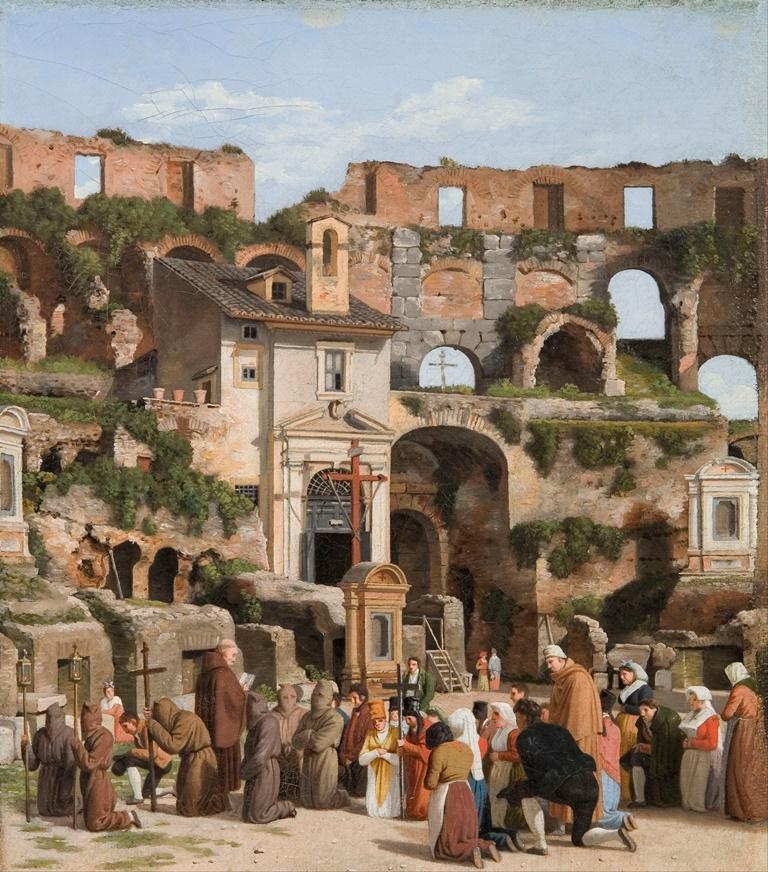 Dipinto di Eckersberg ritraente la processione nella chiesa di Santa Maria
